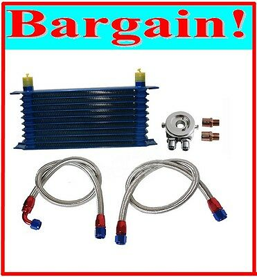 UNIVERSAL 10 ROW OIL COOLER KIT ENGINE TRANSMISSION OIL with ADAPTOR ADAPTER