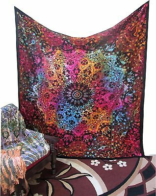 Queen Tie dye Tapestry Psychedelic Star Mandala Indian Wall Hanging Bedspread