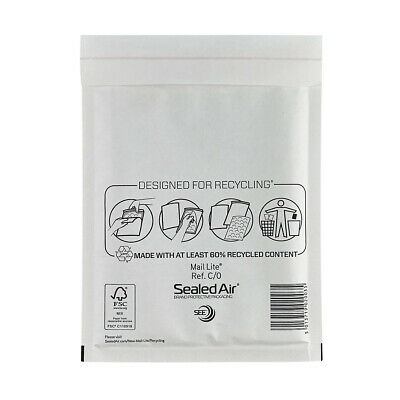 100 X C/0 MAIL LITE SEALED AIR PADDED ENVELOPES - WHITE (145 x 205mm)