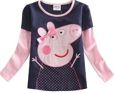 Girls Peppa Pig Long Sleeve Top Age 18 24 2 3 4 5 Kids Pink Bow TShirt Clothes