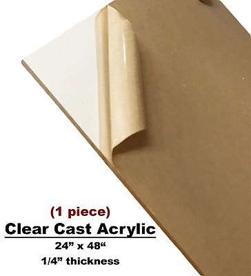 "Clear Acrylic Plexiglass Plastic High Density Sheet 1/4"" x 24"" x 48"""