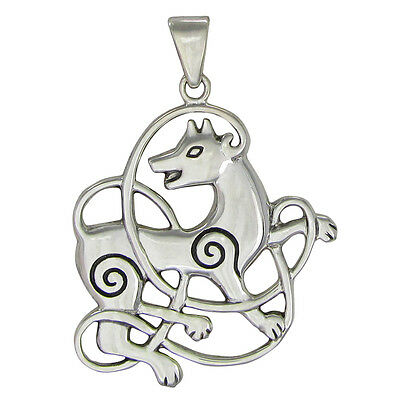 dbf9eff8ba5c Sterling Silver Celtic Knot Wolf Pendant Dryad Design - Totem Knotwork  Jewelry