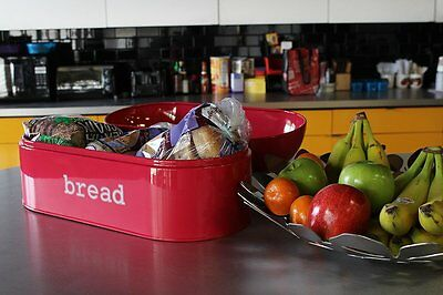 Vintage Retro Red Pink Deep Salmon Stainless Steel Bread Box w Swing Lid