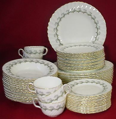 MINTON china ERMINE S694 pattern 62-pc SET SERVICE for TWELVE (12)
