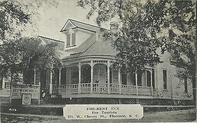 SC, Florence, FOR-REST INN, For Tourists Prelinen Postcard