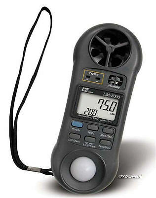 LUTRON LM-8000A Lightweight Anemometer Hygrometer Humidity Light Meter Thermomet