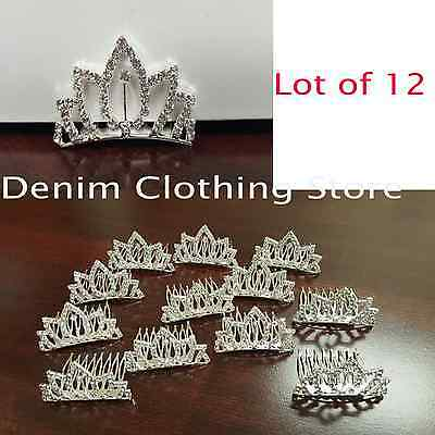 12pcs Wholesale Silver Rhinestone Mini Crown Hair Comb Tiara Wedding Bridal Prom