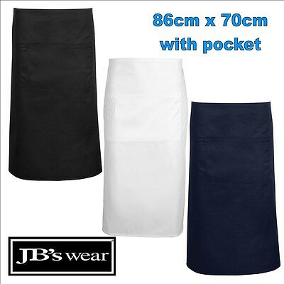 86cm x 70cm Pocket Apron Easy Care Fabric TAFE Apron [ONE SIZE] Black White Navy