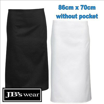 86cm x 70cm Pocketless Apron Easy Care Fabric TAFE Apron Black, White