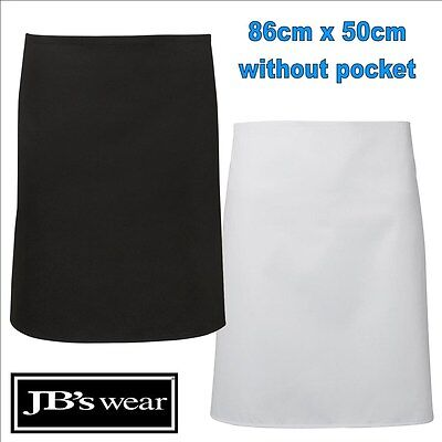 86cm x 50cm Pocketless Apron Easy Care Fabric TAFE Apron Black, White