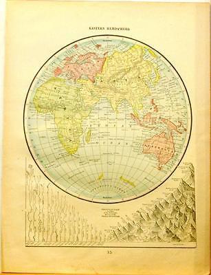 Beautiful Original 1899 Eastern Hemisphere Large Color Map/10x14