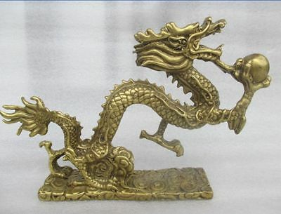 """6.7"""" China's rare manual hammer old brass play pearl dragon statue"""