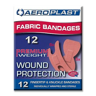 12 First Aid Bandaids Fingers Knuckles Asst Fabric Premium Weight Super Adhesion