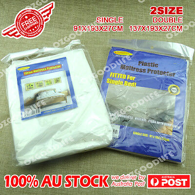 2xWaterproof Single/double Mattress Protector Cover Fitted Plastic Sheet Bed