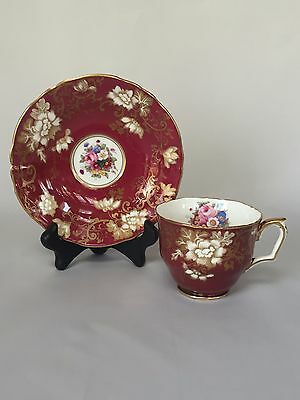 Crown Staffordshire Fine Bone China Maroon Cup & Saucer A14482