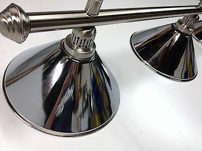 Large QUALITY Pool Snooker Billiard Table Light Brushed with 4 x Chrome Shades
