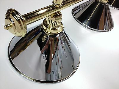 Large QUALITY Pool Snooker Billiard Table Light Brass with 4 x Chrome Shades