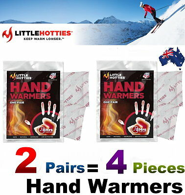 LITTLE HOTTIES 2 Pairs (4 Bags) Pocket Hand Warmers 8 Hours Heat Packs