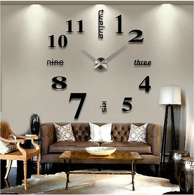 Modern DIY Large Wall Clock 3D Mirror Surface Sticker Home Decor Art Design VW
