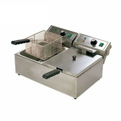 Deaken Commercial 20L Twin Pan Electric Benchtop Deep Fryer NEW