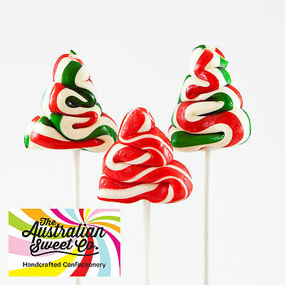 6x Christmas Tree Lollipops Bulk lollies Australian Made Party