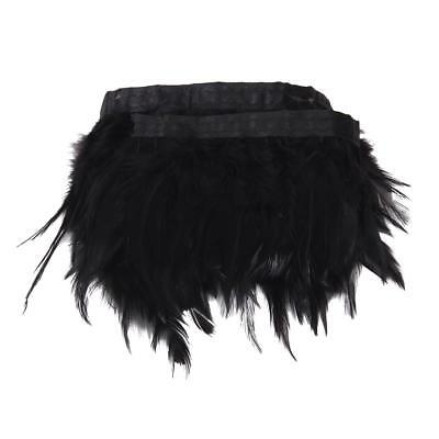 1 Yard Black Feather Trim Hackle Feather Fringe Costume Millinery Party DIY