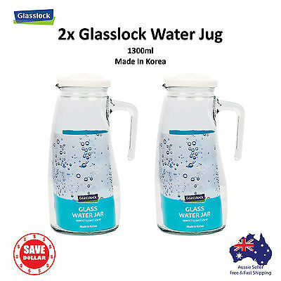 Glasslock 2x Glass Water Jug Water Jar Bottle 1300ml BPA FREE Made in Korea