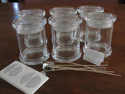6 Medium Monaco Jars Candle Making Supplies + Wicks, Stickums, Warning Labels