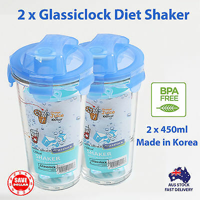 2x 450ml Glasslock Glass Diet Beverage Shaker Mixer Blender Protein Powder