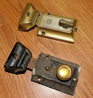 2 VINTAGE HEAVY DUTY  CAST STEEL/BRASS  CABINET LATCHES w/ KEEPERS