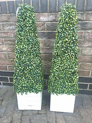 2 x ARTIFICIAL BOXWOOD TOPIARY TREE PYRAMID CONE PLANT 90cm / 3FT TALL HIGH (W)
