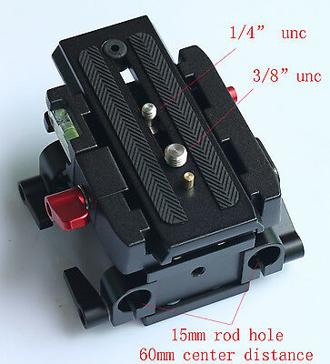 15mm Rail Rod Quick Release QR Baseplate Fr Follow Focus support DSLR Rig camera