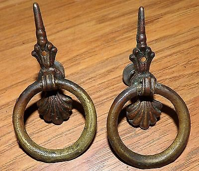 2 Vintage Brass Fancy Drop Drawer Pulls 2""
