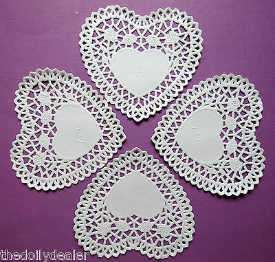 White Paper Lace Rose Lattice Doily Heart Doilies 4 Inches X 5