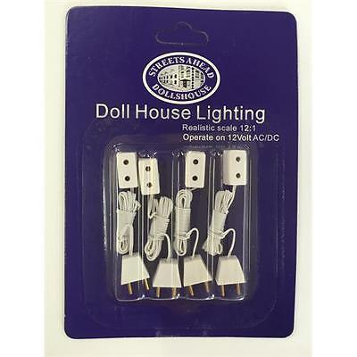 4 x Single Sockets and Flex For Dolls House Lighting DE071