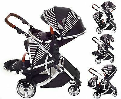 Duellette 21 Bs Twin Double Pushchair Newborn Pram Travel System Tandem Car Seat