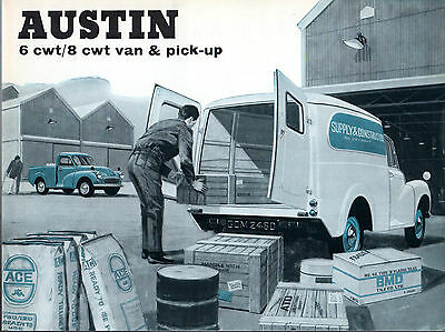 Austin 6 & 8cwt Van & Pick Up 1967-72 UK Market Sales Brochure Morris Minor