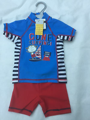 Boys Gone Surfing Monkey Uva Uvb Surf Suit Swimwear Sizes 3-6Mths To 4-5 Yrs