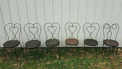 Vintage Antique Wrought Iron Twisted Metal Wood Seat Ice Cream Parlor Chairs