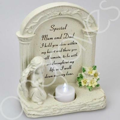 Special Mum & Dad Praying Angel With Flickering Tealight Graveside Memorial