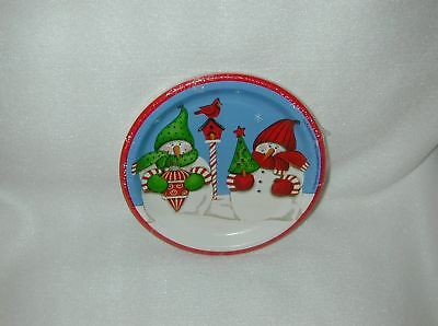 Christmas Candy Cane Snowman 8 Paper Snack Plates-New-By Party Creations