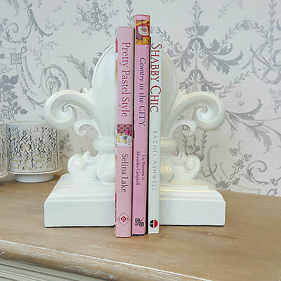 Set Of Two White Fleur De Lis Bookends Decorative Gift Ornament Home