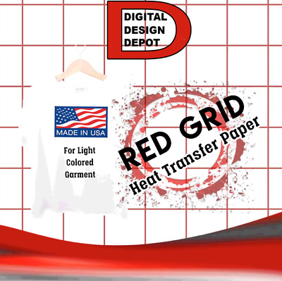"100 PK Sheets 8.5"" x 11"" Light Fabric InkJet Transfer Paper Red Grid New :)"