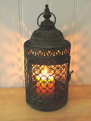 Antique Vintage Style Moroccan Large Lantern Candle Holder Home or Garden NEW