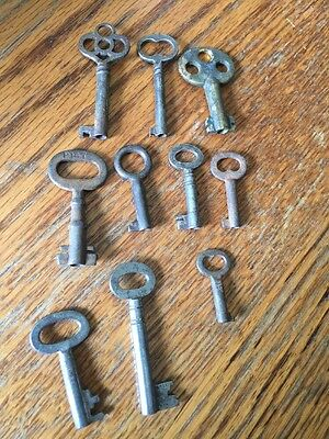 Lot 10 Antique Vintage Mini Skeleton Keys Industrial Steampunk Gothic Authentic