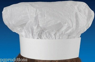 10x ADULT CHEFS HATS White Chef Kitchen Cooking Baker BBQ Material Cotton BULK