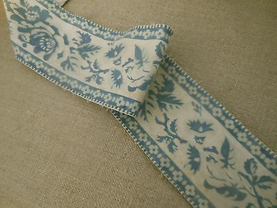 Antique 1850's Lovely French Faded Soft Blue Floral Cotton Fabric Trim
