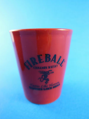 Fireball cinnamon whisky shot glass red with letter L on back RED