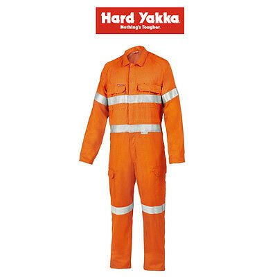 Mens Hard Yakka Protect Hi-Vis Safety Orange Tecgen Coverall Lightweight Y00100