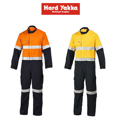 Mens Hard Yakka Protect Hi-Vis 2 Tone Tecasafe Plus Coverall Safety Taped Y00303